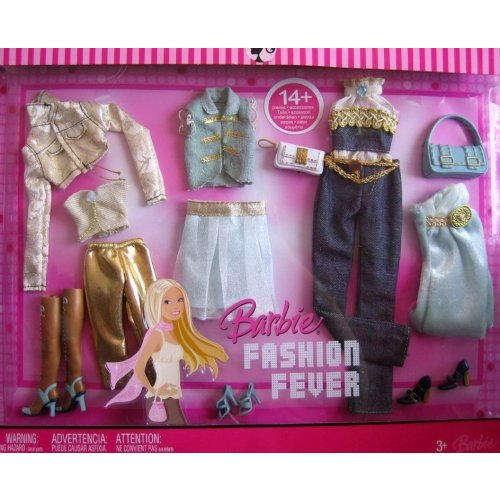 バービーBARBIE Fashion Fever FASHIONS 14+ Pieces ゴールド & 青 Tone FASHION OUTFITS (2007)