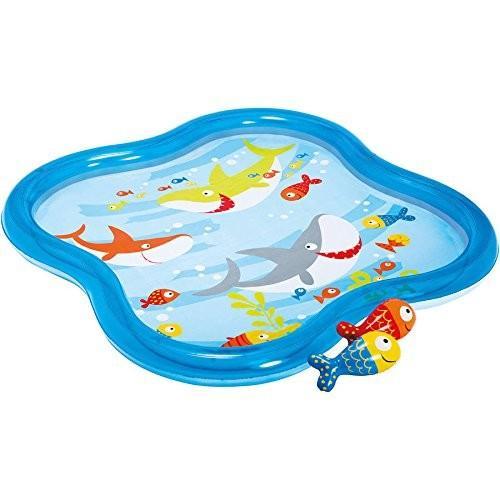 プールIntex Inflatable Square Fish Aquarium Baby Kiddie Spray Pool (55 in x 55 in x 4.5 in)