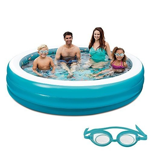 プール青 Wave 3D Inflatable Round Family Pool, 7.5'