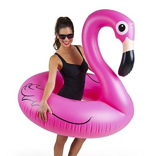 フロートBigMouth Inc ピンク Flamingo Pool Float, Inflates to Over 4ft. Wide, Funny Inflatable Vinyl Summer Pool or Beach Toy, Pa