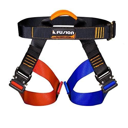 海外正規品Fusion Climb Concerto Color Coded Half Body Harness 黒 M-XL Quick Release Buckles Climbing Gym