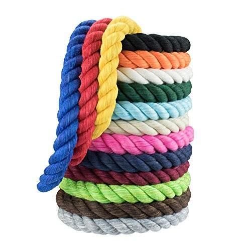 海外正規品WCP Twisted Cotton Rope 3 Strand Natural Artisan Cord 1/4 Inch, 1/2 Inch Super Soft by the foot in 10 Feet, 25 Feet
