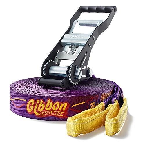 海外正規品Gibbon Slacklines Surfer Line, 紫の, 30m, 27,5m line + 2,5m ratchet strap, jumpline, trickline, advanced, incl. r