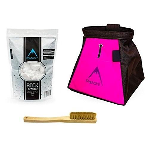 海外正規品Psychi Chalk Bouldering Bucket Stand Bag Starter Pack for Rock Climbing with Loose Chalk and Boar Hair Brush (ピンク)