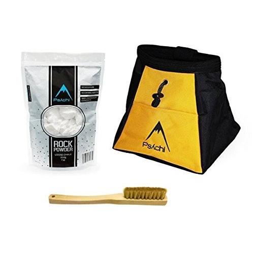 海外正規品Psychi Chalk Bouldering Bucket Stand Bag Starter Pack for Rock Climbing with Loose Chalk and Boar Hair Brush (Yello