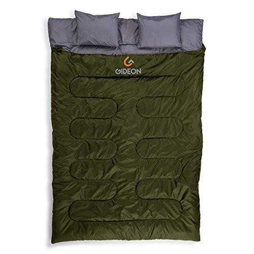 アウトドアGideon Waterproof Double Sleeping Bag with 2 Pillows ? Amazingly Lightweight, Compact, Comfortable & Warm ? for