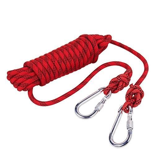 海外正規品Outdoor Rock Climbing Safety Rope 10M(32ft)/15M(49ft)/20M(64ft)/30M(98ft) with Hooks,Diameter 8mm(0.03ft),9KN(900kg