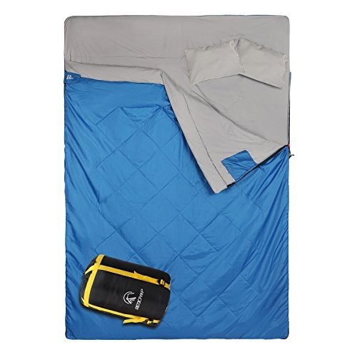 アウトドアREDCAMP Double Sleeping Bag for Camping,2 Person Sleeping Bags with 2 Pillows, Queen Size Blue 3.3lbs Filling(75+12