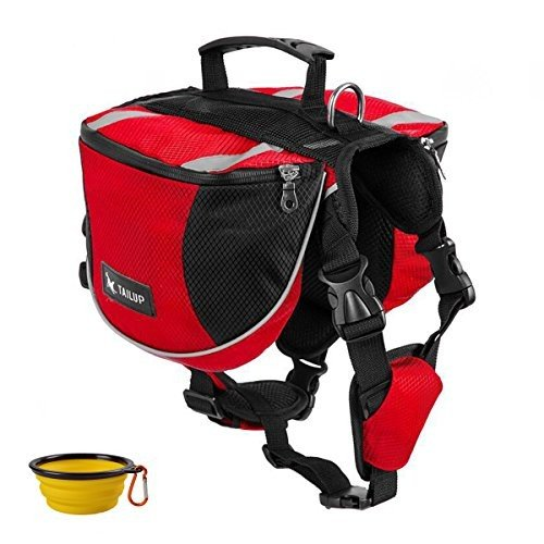 ドッグパックGrayCell Dog Saddlebags Hound Travel Hiking Camping Backpack for Medium Large Dogs (Red,M)