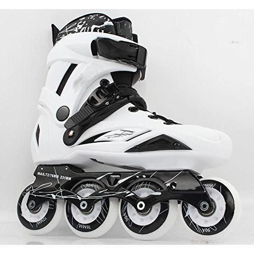 インラインスケートTX Inline Skates for Men Unisex Racing PP Material 90A High Elasticity Wheels White, 40