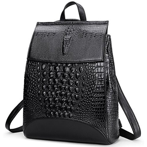 海外正規品Coolcy New Fashion Casual Women Genuine Leather Backpack Shoulder Bag (黒2)