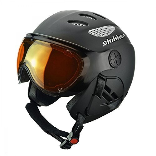 スノーボードSlokker Raider Ski Helmet with Attached Photochromatic Polarizing Goggles (黒, 55-57)