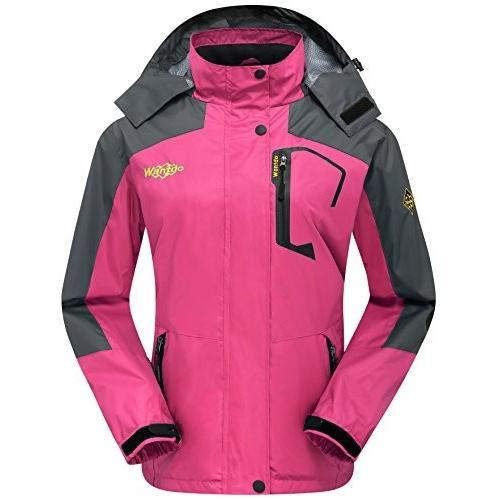 海外正規品Wantdo Women's Insulated Jacket Waterproof Raincoat Climbing Running Rose 赤 L