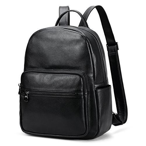 海外正規品Coolcy Hot Style Real Leather Backpack Casual Daypacks Bag (黒)