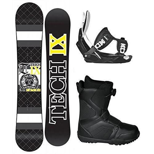 スノーボードTechnine IX Flat 黒 Snowboard Complete Package with Flow Bindings and Flow Vega BOA Men's Boots - Board Size