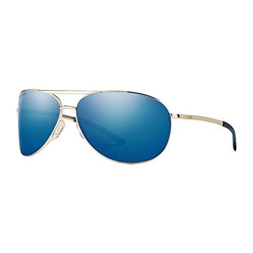 スミスSmith Serpico 2 ChromaPop Polarized Sunglasses, ゴールド, 青 Mirror Lens