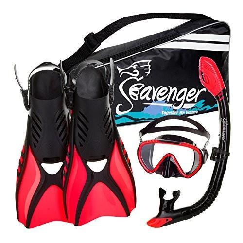シュノーケリングSeavenger Advanced Snorkeling Set with Panoramic Mask, Trek Fins, Dry Top Snorkel & Gear Bag (Black Silico
