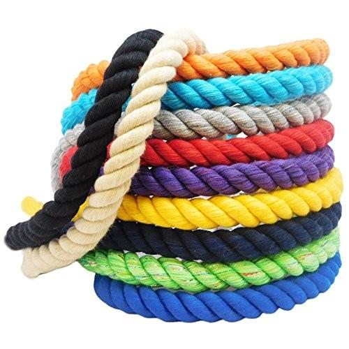海外正規品Ravenox Natural Twisted Cotton Rope | (紫の)(1/2 Inch x 25 Feet) | Made in The USA | Strong Triple-Strand Rope fo