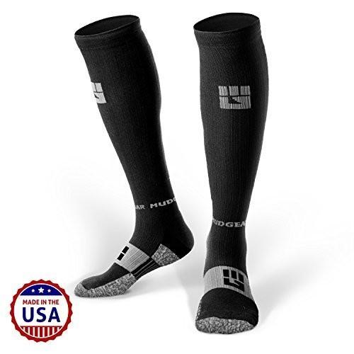 海外正規品MudGear Premium Compression Socks - Mens & Womens Running Hiking Trail - 1 Pair (Black/Gray - S)