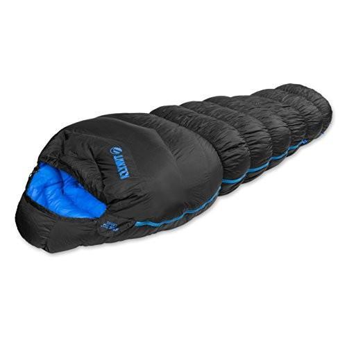 アウトドアKlymit KSB 20° 3-Season Mummy Style Down Sleeping Bag, Oversized Black/Blue