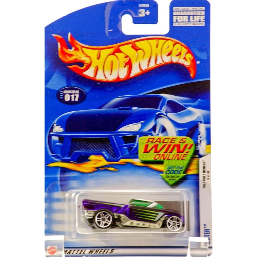 ホットウィール2002 - Mattel - Hot Wheels - First Editions 5 of 42 - Jester (Clear 紫の & 緑 Accents / 緑 Windows) C