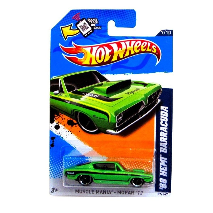ホットウィール2012 Hot Wheels Muscle Mania - Mopar '68 Hemi Barracuda 緑 #87/247