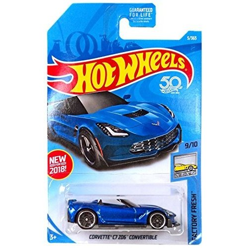 ホットウィールHot Wheels 2018 50th Anniversary Factory Fresh Corvette C7 Z06 Convertible 5/365, 青