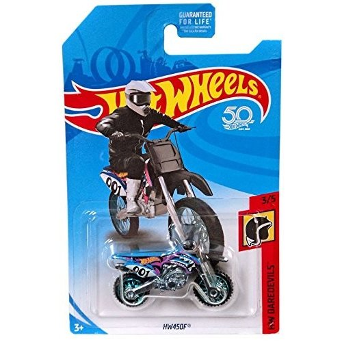 ホットウィールHot Wheels 2018 50th Anniversary HW Da赤evils HW450F (Dirt Bike), 青