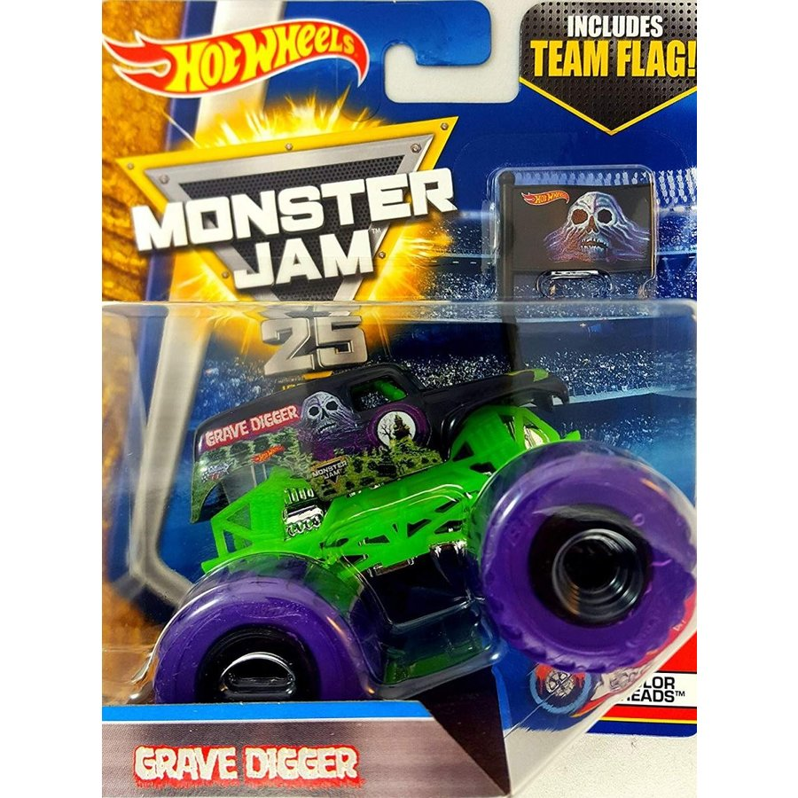ホットウィールHot Wheels Monster Jam 2017 Color Treads Grave Digger (Includes Flag) 1:64 Scale, 黒 and 緑 with 紫の