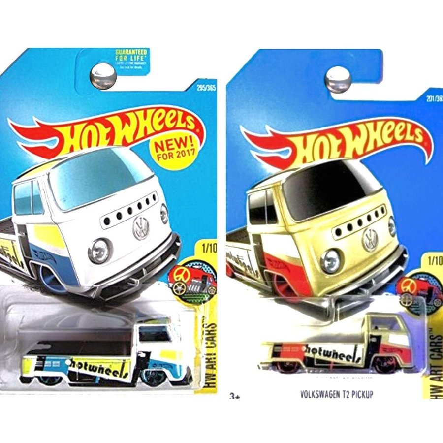 ホットウィールHot Wheels 2017 HW Art Cars Volkswagen T2 Pickup Truck Tan and 白い Set of 2