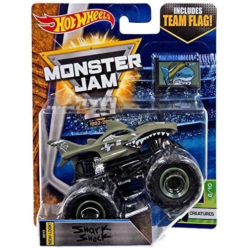 ホットウィールHot Wheels Monster Jam Truck Shark Shock 2017 New Look - Team Flag Series Creatures 6/10