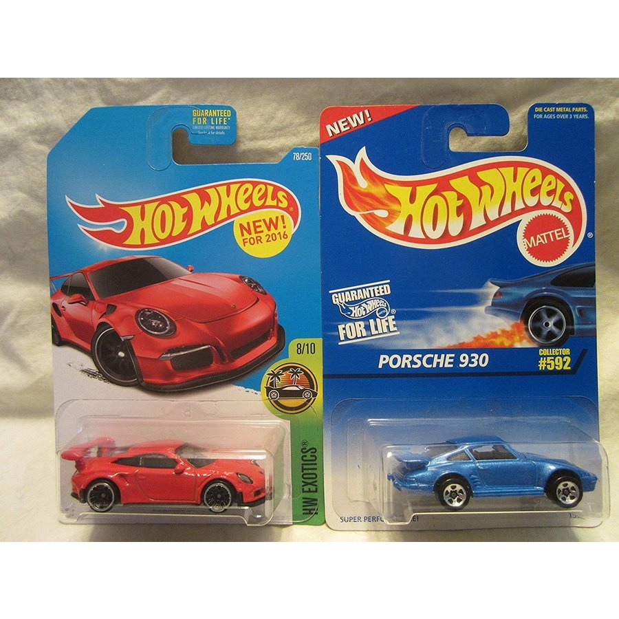 ホットウィールHot Wheels HW Exotics 赤 Porsche 911 GT3 RS & 青 Porsche 930 #592 Die Cast 1/64 Scale 2 Car Bundle!