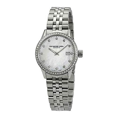 2019人気特価 当店1年保証 レイモンドウィルRaymond Freelancer Weil Freelancer Diamond Ladies White Mother of Pearl Pearl Dial Ladies Watch 5629-STS-97081, タイヤアクセス:c50164d2 --- opencandb.online