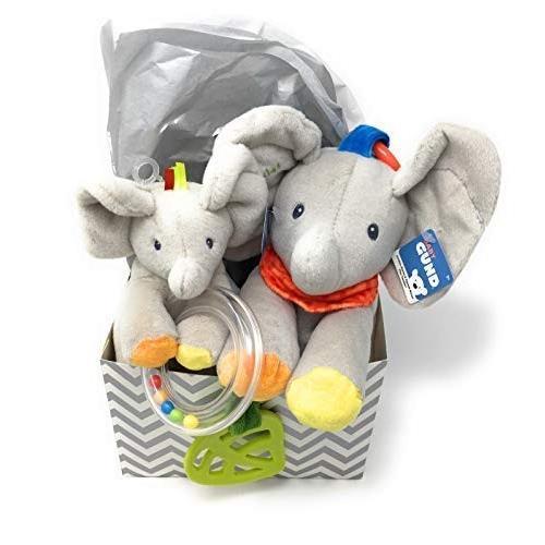 ガンドGUND Baby Flappy The Elephant Plush Rattle and Flappy The Elephant Activity Toy Gift Set Bundle with Gift Box and Tissue