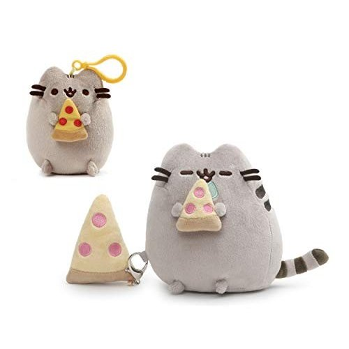 ガンドGUND 6 Inch Pizza Plush Pusheen with Detachable Pizza and Pizza Backpack Clip Bundle