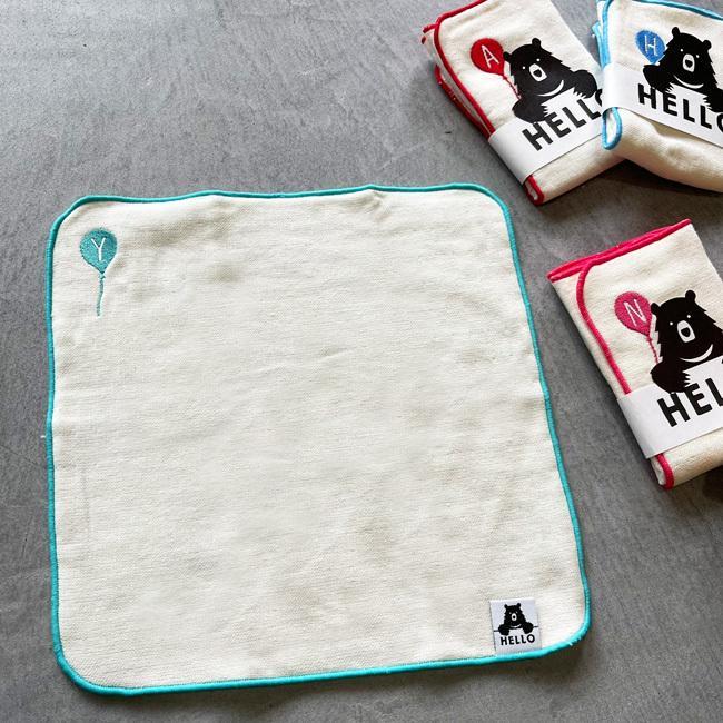 日本製【HELLO バルーン】イニシャル タオルハンカチ 綿100% 約25×25cm パイル ガーゼハンカチ 名入れ|platinumbaby|02