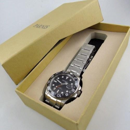 40mm PARNIS black dial Sapphire glass Ceramic bezel GMT automatic mens watch 338|playone|03