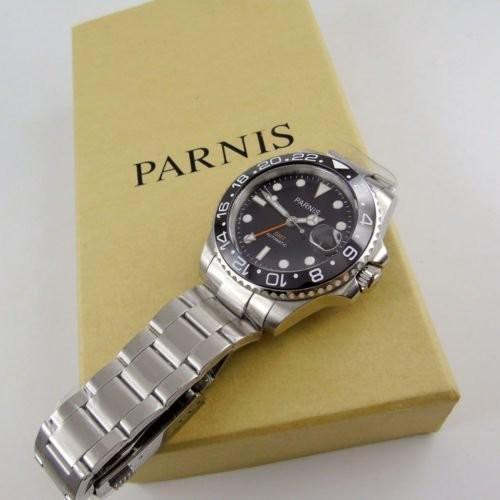 40mm PARNIS black dial Sapphire glass Ceramic bezel GMT automatic mens watch 338|playone|04