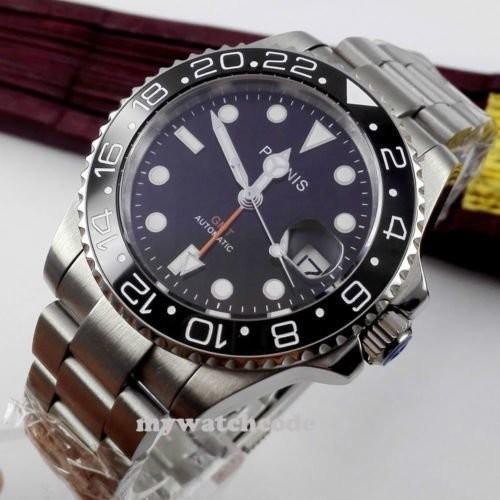 40mm PARNIS black dial Sapphire glass Ceramic bezel GMT automatic mens watch 338|playone|05