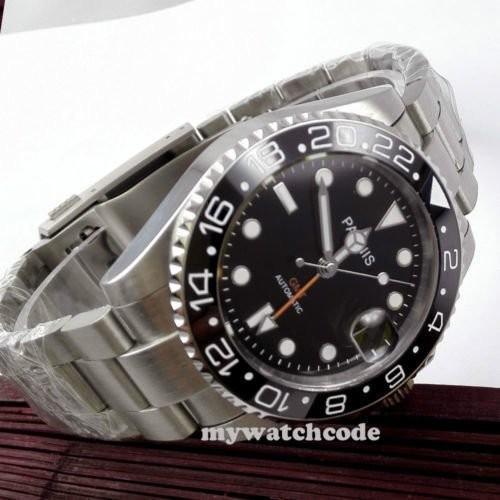40mm PARNIS black dial Sapphire glass Ceramic bezel GMT automatic mens watch 338|playone|06