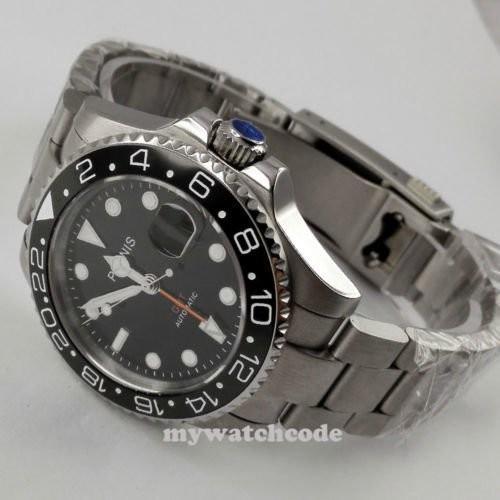 40mm PARNIS black dial Sapphire glass Ceramic bezel GMT automatic mens watch 338|playone|07