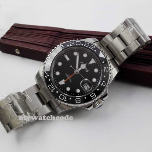 40mm PARNIS black dial Sapphire glass Ceramic bezel GMT automatic mens watch 338|playone|08