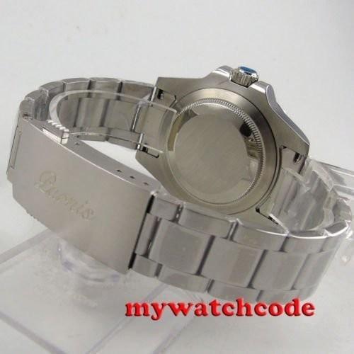 40mm PARNIS black dial Sapphire glass Ceramic bezel GMT automatic mens watch 338|playone|10