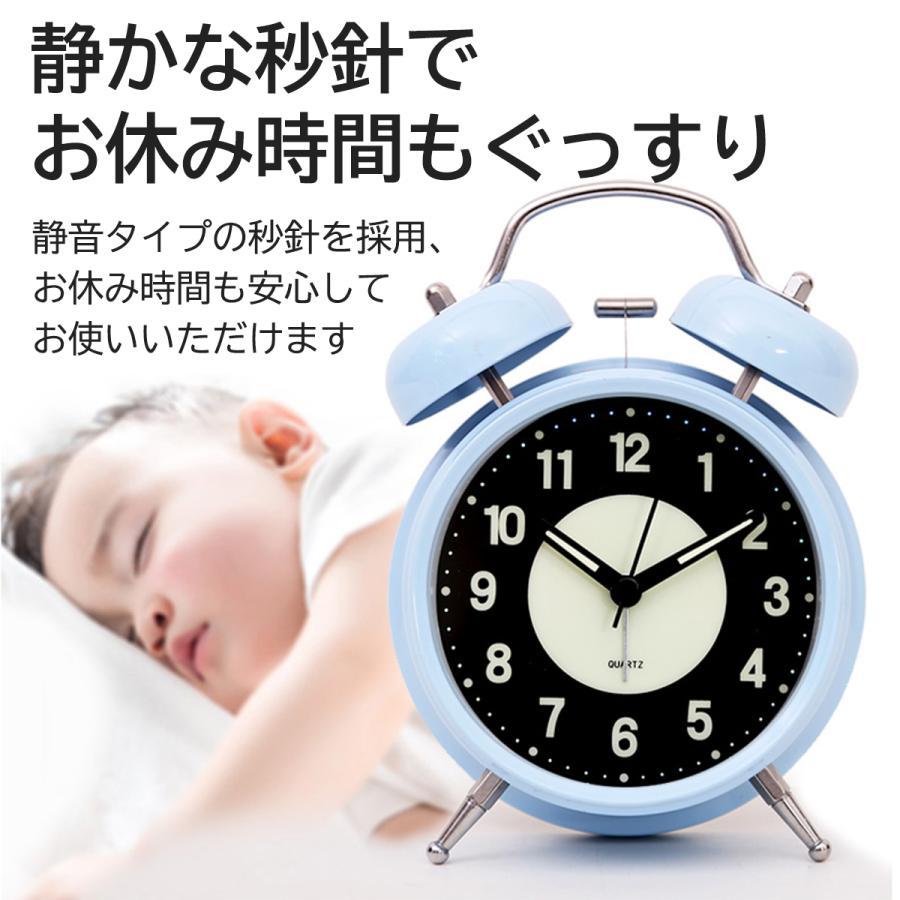 大音量 目覚まし時計 子供 おしゃれ 起きれる 置時計 アナログ インテリア レトロ アラーム 夜光 静か 静音秒針 連続秒針 卓上時計 ベッドルーム 寝室 めざまし|plazasp|03