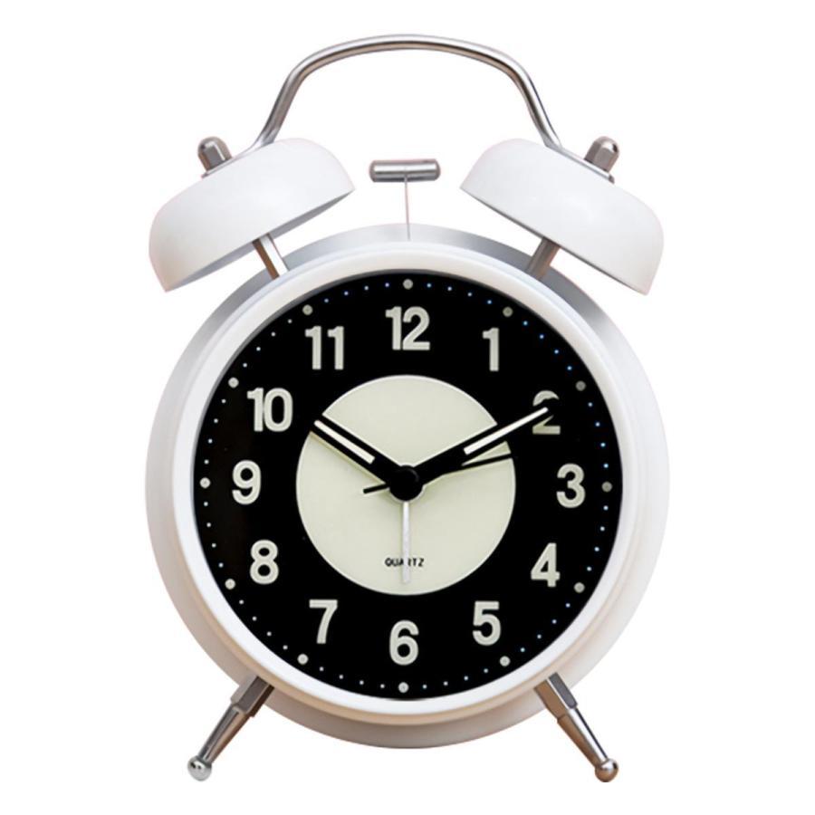 大音量 目覚まし時計 子供 おしゃれ 起きれる 置時計 アナログ インテリア レトロ アラーム 夜光 静か 静音秒針 連続秒針 卓上時計 ベッドルーム 寝室 めざまし|plazasp|08