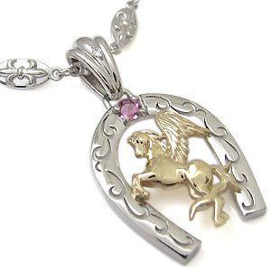超美品 ピンクトルマリン 馬 ホースモチーフ メンズ 馬蹄 コンビ ネックレス, ナムチェバザール 71a82e21