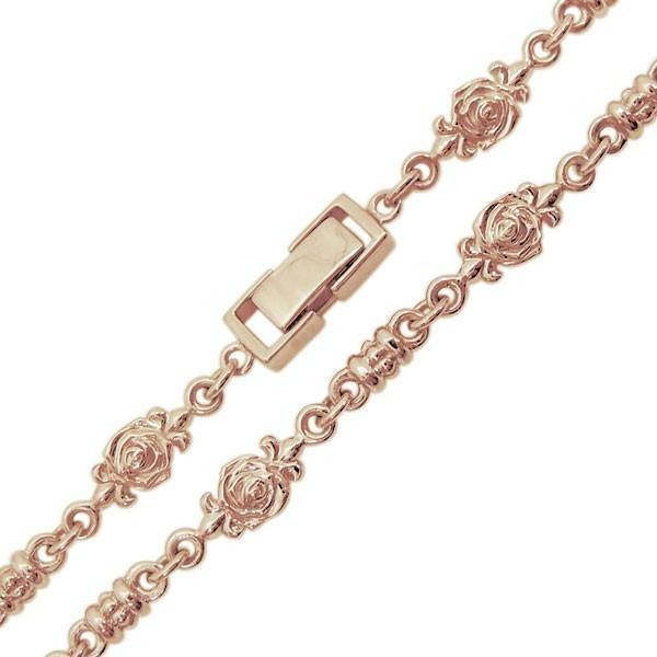 10金 薔薇 ネックレス メンズネックレス ローズチェーン 中折れクラスプ|plejour|05