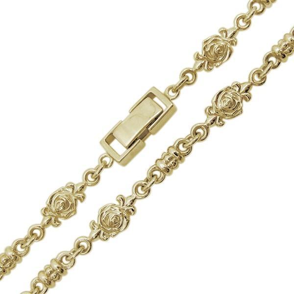 10金 薔薇 ネックレス メンズネックレス ローズチェーン 中折れクラスプ|plejour|06