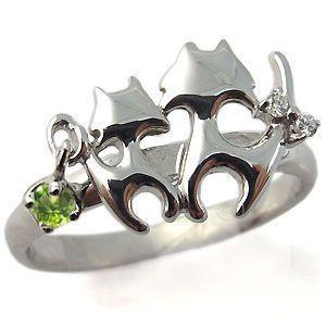 【最安値】 プラチナ ペリドット リング ネコ(猫) リング 指輪 ホワイトデー ポイント消化, 炭天 f59bd920