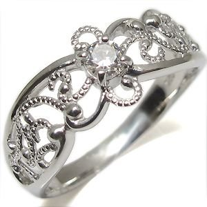 【誠実】 4月誕生石 ダイアモンド リング 一粒 アンティーク K10 指輪, ウエダシ 39cba7c1